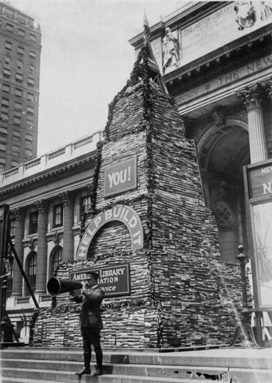 Oproep voor boekdonaties aan de New York Public Library in 1918