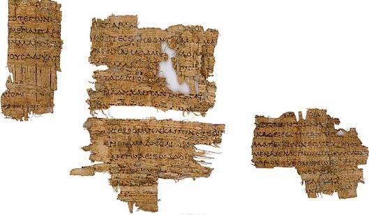 Papyrusfragmenten van Homerus' Odyssee, vrij zeker circa 280 v.c. gekopoeerd in de Alexandrijnse bibliotheek. Thans in de Bodleian Library te Oxford (Bodleian Library Papyrus MS Gr.Class.b.3 [PJ]).