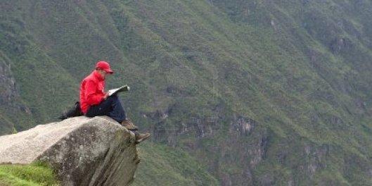 Lezen op een rots