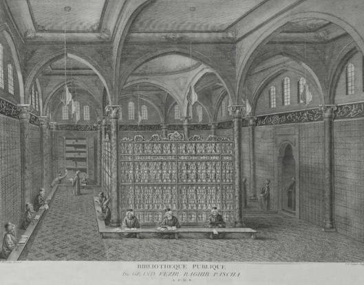 Ottomaanse bibliotheek van grootvizier Raquib Pasha in Istanbul. Gravure uit 1847