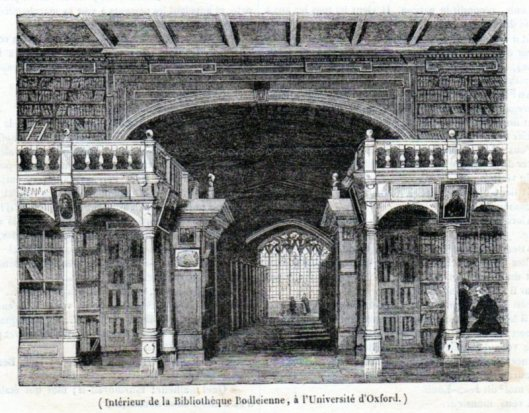 Prent uit 1842 van interieur Bodleian Library, Universiteit Oxford