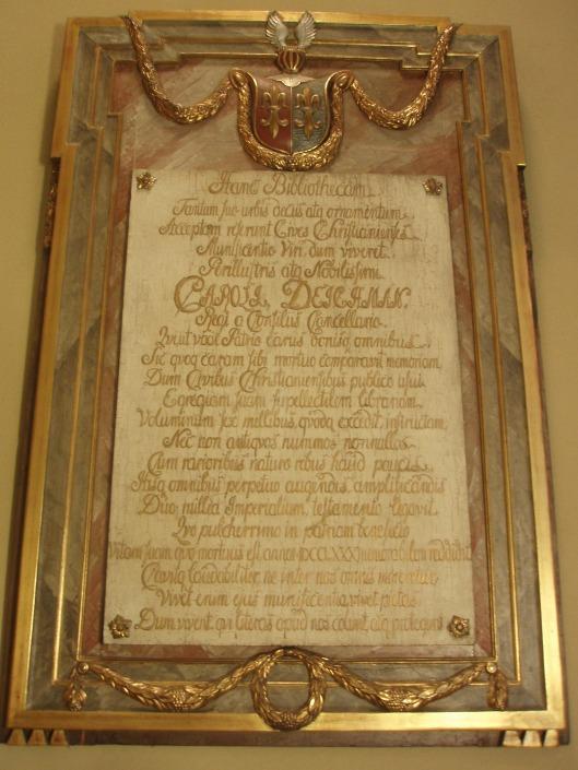 Plaquette gewijd aan Carl Deichman (circa 1705-1780), wiens boekencollectie de basis vormde voor de openbare bibliotheek van Oslo