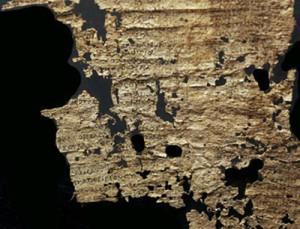 Fragment van papyrus uit de tweede eeuw met een deel van Homerus' Ilias. (Edgar J.Goodspeed Papyri Collection)