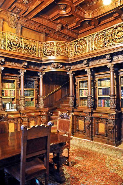 Bibliotheekinterieur van kasteel Peles, Roemenië