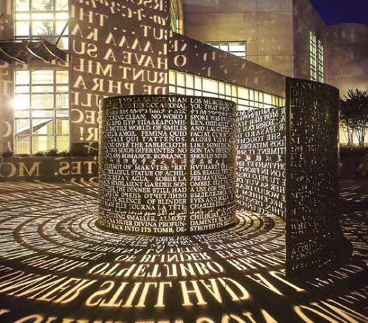 Hal in universiteitsbibliotheek van Houston, Texas. Kunstwerk van Sanborn, 2004