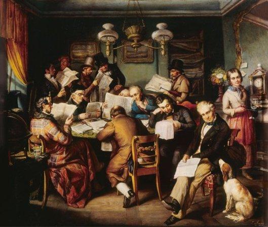 De leeszaal. Schilderij door Heinrich Lucas Arnold (Deutsches   Historisches Museum)