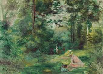 Auguste Renoir (1841-1919): VROUW LEZEND IN BOSLANDSCHAP (voor 1.683.750 dollar geveild bij Christie's)