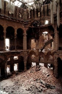 The National Library in Sarajevo after the destruction