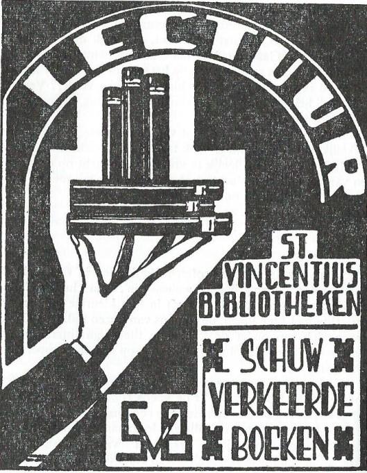 Affiche en advertentie, 1934, van de r.k. St. Vincentius volksbibliotheken.