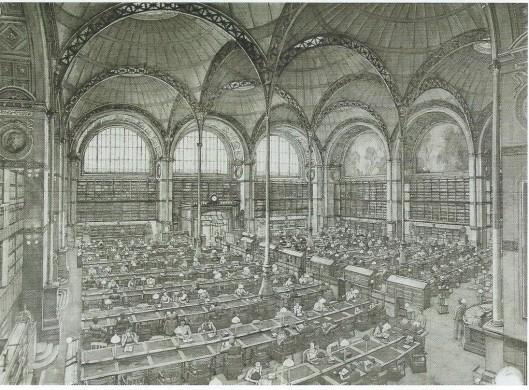 Bibliothèque Nationale, Salle Labrouste, Rue Eichelieu, Parijs. Ets/aquatint door Erik Desmazières (geb.1948), 2007.