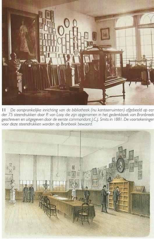 Boven; foto uit 1910 van de bibliotheek van Bronbeek (tehuis voor oud-militairen die intussen ook als expositieruimte dienst was gaan doen. Onder dec oorspronkelijke inrichting van de bibliotheek