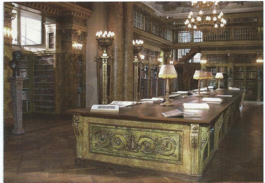 'Einblick in das restaurierte Herrenappartement im Gartenpalais Liechtenstein, Bibliothek von Joseph Hardtmuth, 1790-1792, in das Gartenpalais transferiert 1914, Wien.