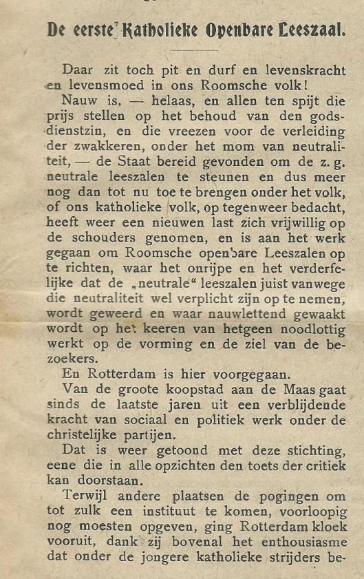 De Eerste Katholieke Openbare Leeszaal [in Rotterdam]. Uit: Nieuwe Haarlemsche Courant, 4 maart 1911