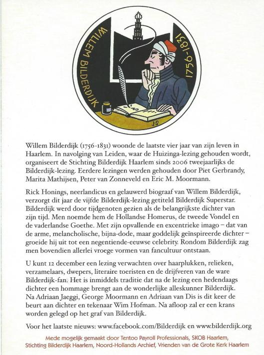 Bilderdijk Superstar. Vrijdag 12 december 2014 - 16,30 uur. Grote of St.Bavokerk op de Grote Markt te Haarlem. Starring: Rick Honings, Wik Mfman en de Teisterband. Info@bilderdijk.org