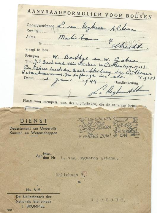 Aavraagbriefje voor boek uit de Koninklijke Bibliotheek, in 1944 Nationale Bibliotheek geheten