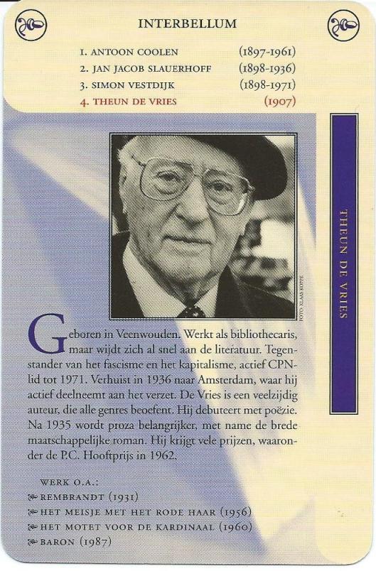 Kaart Theun de Vries uit het Nederlands Literatuur Kwartet