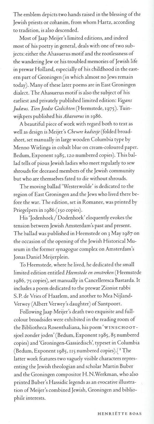 Vervolg bijdrage van Henriëtta Boas. (1994)