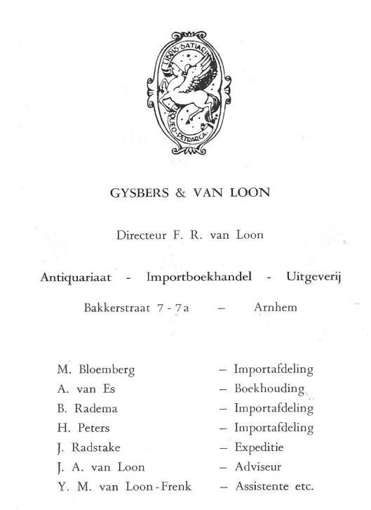De laatste promotiekaart van de Arnhemse boekenfirma Gysbers & Van Loon