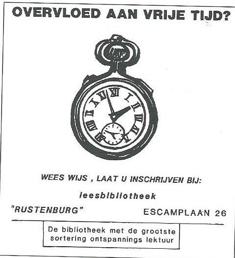 Advertentie van de Vincentiusbibliotheek 'Rustenburg' aan de Escamplaan in Den Haag. G.v.d.Ham werkte hier als eerste bibliothecaris van 1935 tot 1944 en is opgevolgd door A.C.J.Hoogeveen tot 1990. Jan Nowee was tweede bibliothecaris tot 1944.