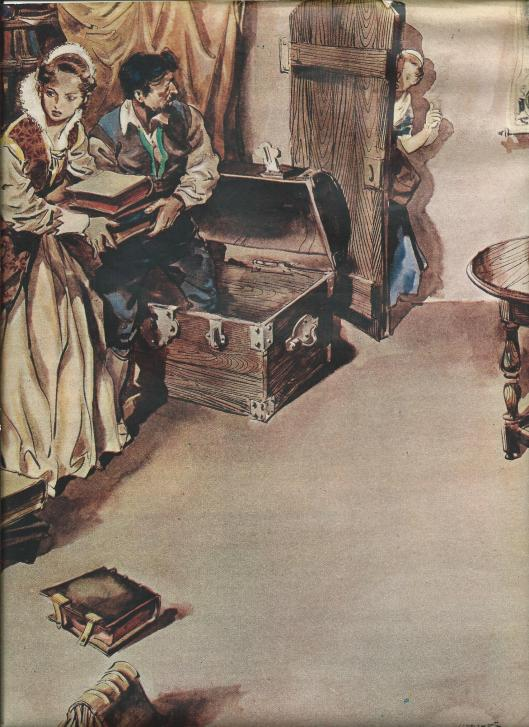 De voorbereiding van Hugo de Groot's vlucht in een boekenkist. Naar een tekening in kleur van Frans Lammers. Uit: de Katholieke Illustratie, mei 1941.