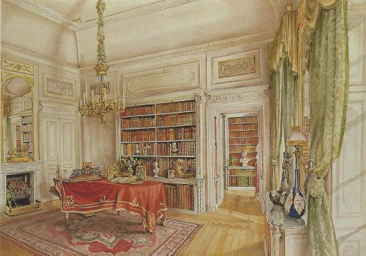 Woburn Abbey Library.Home of the 15th Duke of Bedford and his family. Ante-Library,  Watercolour by Peter Wagon, 1989.