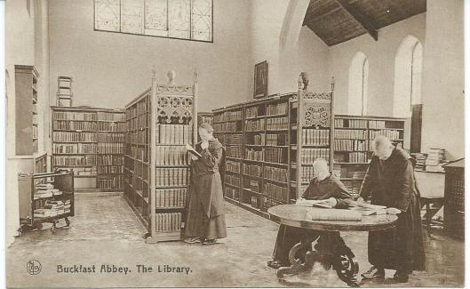 De bibliotheek in het klooster van Buckfast, Devon