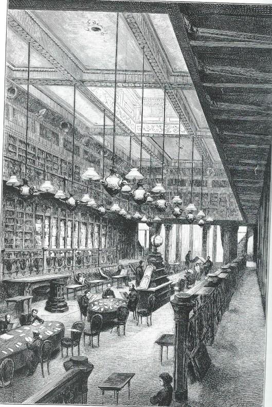 Leeszaal van het Rotterdamsch Leeskabinet op een tekening van P.A.Schipperus uit 1884