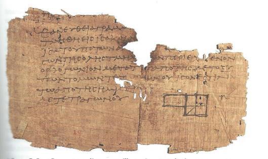 De wiskundige Euclides (circa 265-200 v.Chr.) is bekend van zijn hoofdwerk 'de Elementen' . Hij zou veel in de bibliotheek werkzaam zijn geweest. 'Hoewel de Bibliotheek natuurlijk voor het voortbestaan van talloze literaire en wetenschappelijke werken van cruciaal belang is gebleken, is haar rol voor de wiskunde o mogelijk nog crucialer.' (F.A.J.de Haas) Papyrus Oxy. 1.29 met een diagram ter illustratie van Euclides, Elementen III propositie 5.