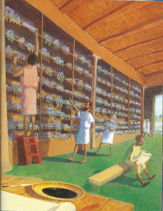 Eratostenes in het Museion. Fantasietekening van Kevin Hawkes