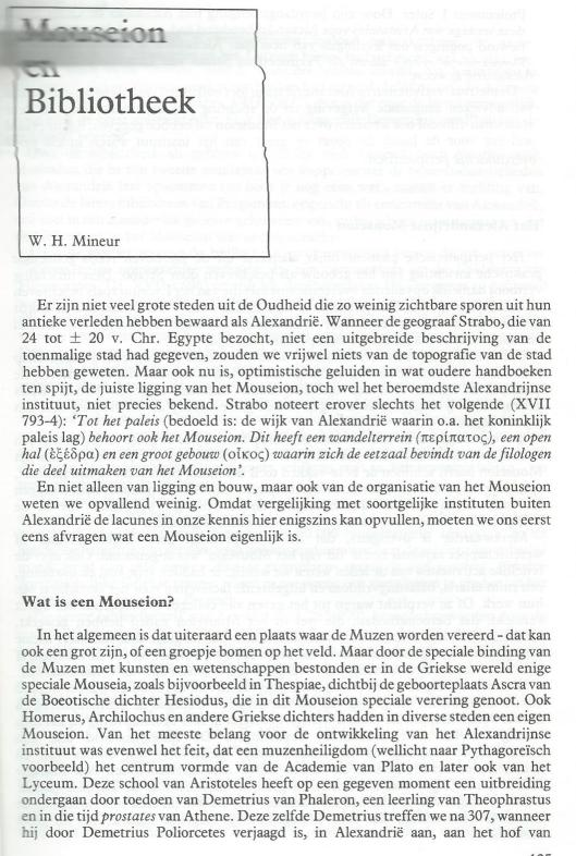 Mouseion en Bibliotheek; door W.H.Mineur. Uit: Hermeneus, juli 1985 (1)