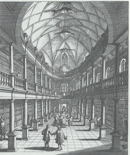 Stadsbibliotheek Zürich. Gravure uit 1719