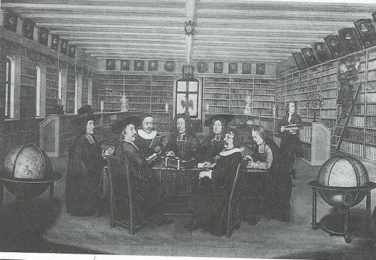 Burgerbibliotheek in Bern. De bibliotheekcommissie beraadt zich over de aanschaf van nieuwe boeken. Schilderij van Johannes Dünz uit 1896/1897