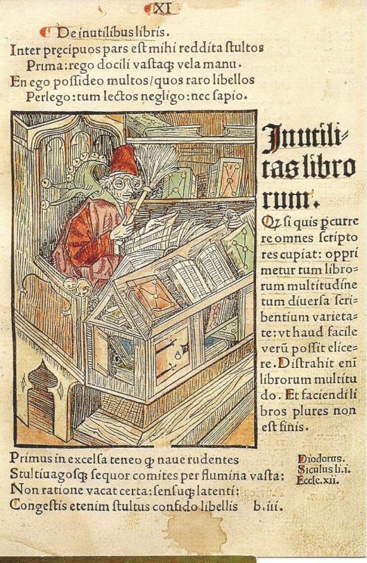 De boekennar. Ingekleurde houtgravure uit het boek van Sebastian Brant (1457-1521). Latijnse editie uitgegeven in Bazel, 1498. (in Stadsbibliotheek van Colmar)