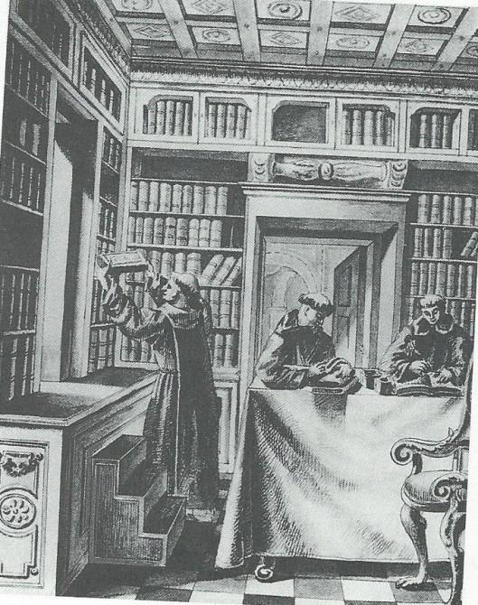 Monniken in de koninklijke bibliotheek van Spanje in het Escorial. Gouache uit de 18e eeuw