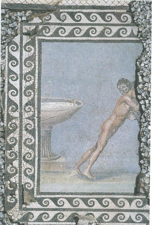 Dit mozaïek van twee worstelaars bij een bekken werd opgegraven bij de bouw van de nieuwe Bibliotheca Alexandrina.