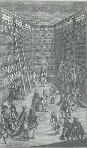 Bezoek van de keizer aan een bibliotheek. Gravure uit de eerste helft van de 18e eeuw.