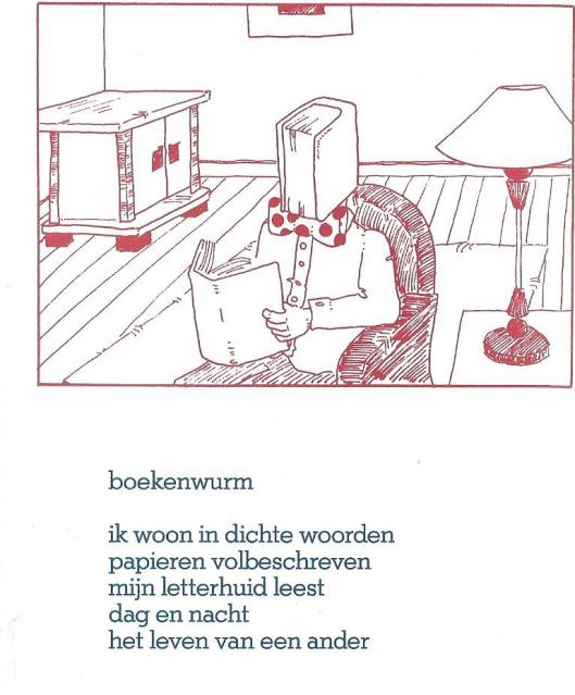 'Boekenwurm' door Agnès Snitker (1994-1994). Illustratie door Freek Op 't Einde. Als ansichtkaart uitgegeven door Amstelodamum, Amsterdam