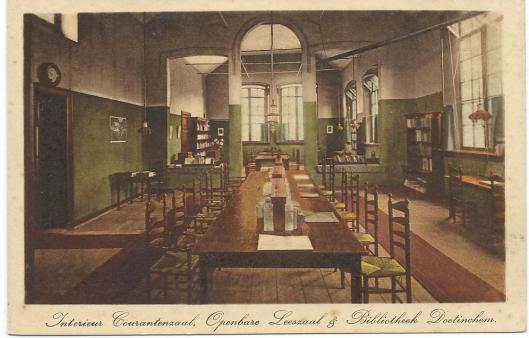 Interieur courantenzaal van vm. leeszaal en bibliotheek Doentichem