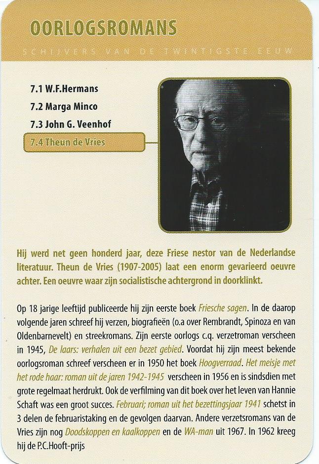 Theun de Vries in Schrijverskwartet; Nederlandse schrijvers in de 20e eeuw (Memoriael Bussum)
