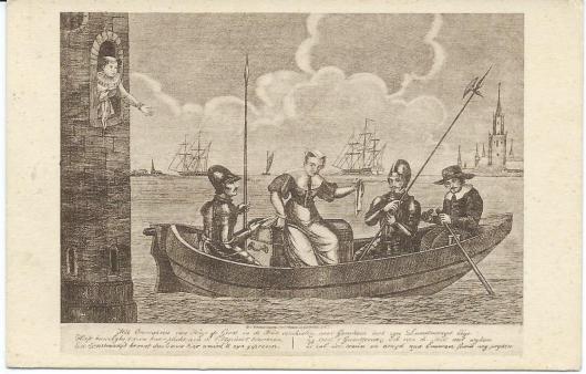 Fantasiegravure van boekenkist met ontsnapping Hugo de Groot