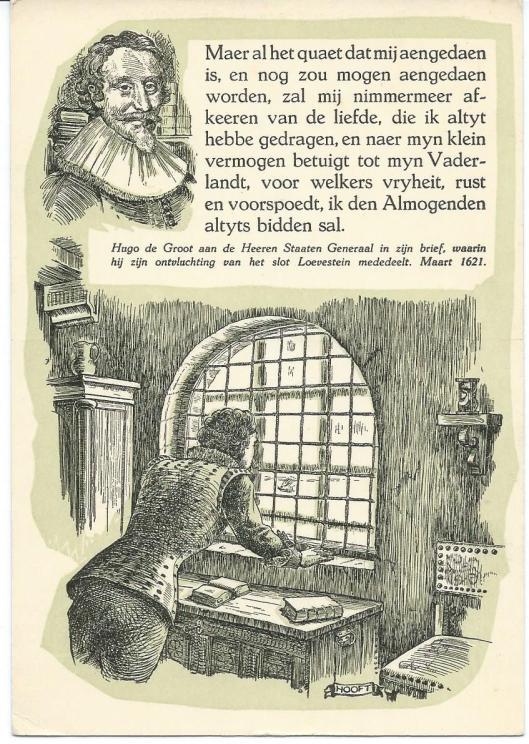 Fantasiekaart Hugo de Groot in ansichtkaartenserie: Historische Reeks: Gedachten van Groote Nederlanders.