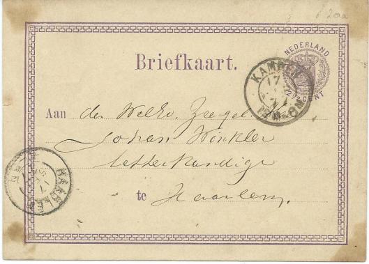 Briefkaart vanuit Kampen verzonden op 16 september 1879 aan: dr.Johan Winkler, letterkundige te Haarlem