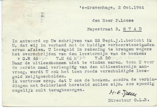 Briefkaart van dr.H.E,Greve, directeur van de openbare leeszaal en bibliotheek aan P. Loose (antiquaar), Papestraat 3, gedateerd 2 oktober 1944