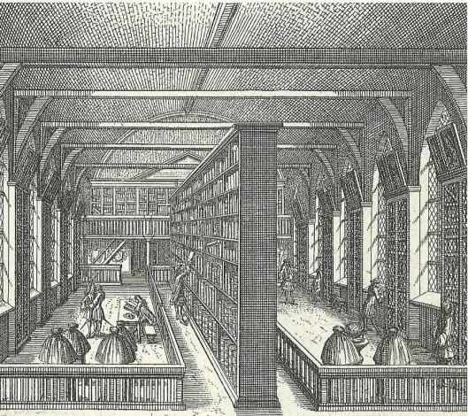 Interieur van universiteitsbibliotheek Leiden begin 18e eeuw. Gravure uit: 'Les délices de Leide, une des villes célèbres de l'Europe'. Leiden, 1712.