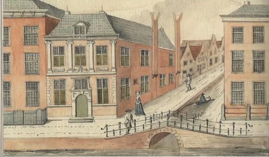 De Bibliotheca Thijsiana omstreeks 1788. Tekening door Jacob Timmermans. Uit: 'Stad van boeken; handschrift en druk in Leiden 1260-2000'. 2008.