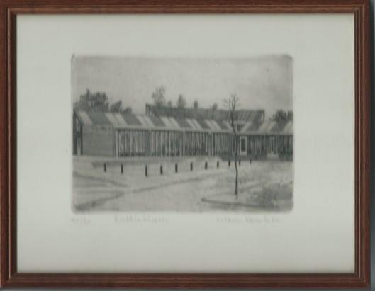 Ingelijste ets van bibliotheek Roden (Drenthe) door Warner Hemstede. Nummer 55 van 60.