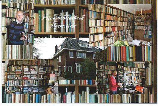 In 2015 verschenen prentbriefkaart met collage van boekencollectie (circa 20.000 exemplaren) gewijd aan de geschiedenis van boeken en bibliotheken