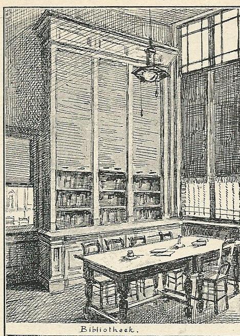 Tekening van Antoon Molkenboer: bibliotheek van volkshuis 'Ons Huis' in de Rozenstraat te Amsterdam als illustratie opgenomen in het blad 'De Huisvriend', 1892