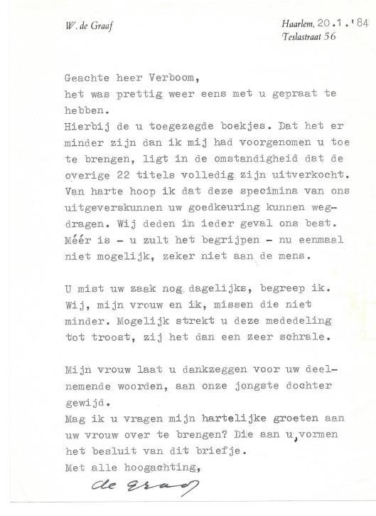 Brief uit 1984 van W.de Graaf uit Haarlem [bezorgen van een aantal publicaties o.a. voor de Avalon Pers] aan antiquaar Gé Verboom. Aangetroffen in: 'In memoriam de schoonheidscommissie van Haarlemmerliede c.a. (1982).