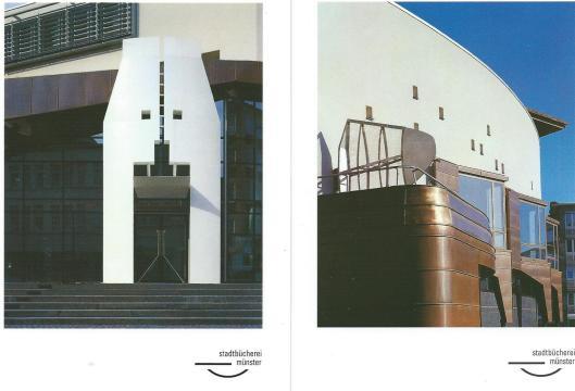 Stadtbücherei Münter. Links de ingang. Ontworpen door architectenbureau Bolles-Wilson + Partners 1987-1993